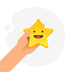 Hand putting five gold stars with smile face vector