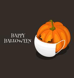 happy corona halloween 2020 pumpkin with face vector image