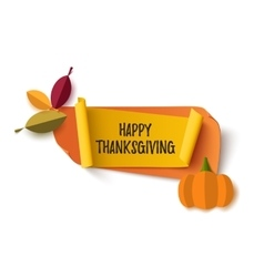 Happy Thanksgiving banner isolated on white vector image
