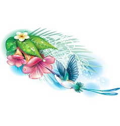 Hummingbird with flowers vector image