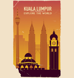 kuala lumpur silhouette in old style vector image