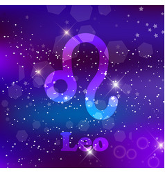 leo zodiac sign on a cosmic purple background vector image