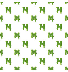 Letter m made of green slime vector