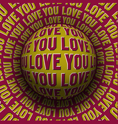 love you patterned sphere rolling on rotating vector image