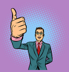 Man thumb up like vector
