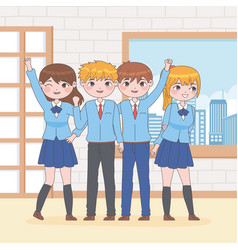 Manga group students vector