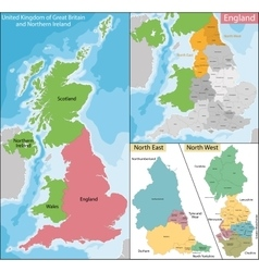 Map north east and west england vector