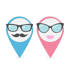 Map pointer set with lips mustaches and glasses vector image