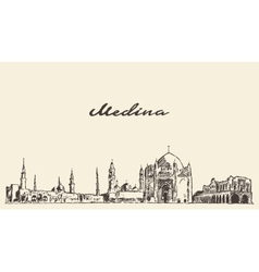 Medina skyline engraved drawn vector