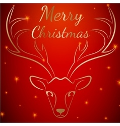 Merry Christmas red deer head vector