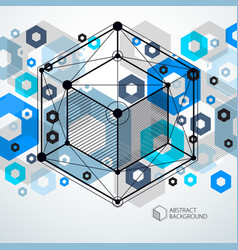 Modern abstract cubic lattice lines blue vector