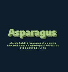 Modern alphabet 3d soft green text effect or font vector
