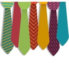 Multiple ties in various colors with figures vector