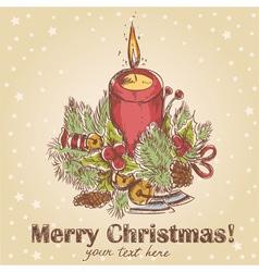 Ornate Christmas hand drawn retro postcard vector image