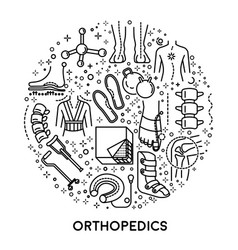 Orthopedics linear icons collection set in circle vector