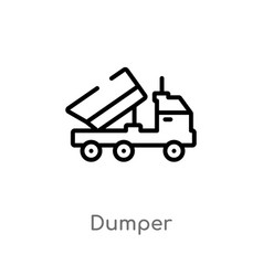 Outline dumper icon isolated black simple line vector