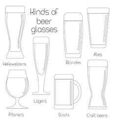Outline set of beer glassware vector