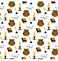 Owl scientist pattern vector