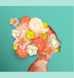 Papercut woman head with spring flowers vector