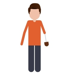 person with hand prosthesis isolated icon design vector image