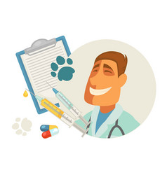 pet vet veterinary doctor animal veterinarian vector image