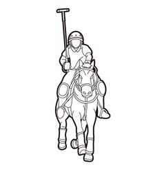 Polo horse players sport cartoon graphic vector