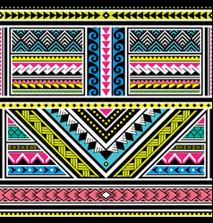 polynesian tattoo seamless colorful pattern vector image