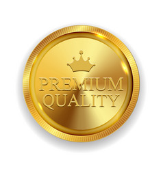 premium quality golden medal icon seal sig vector image