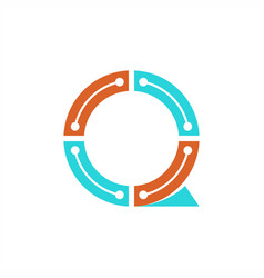 q technology logo vector image