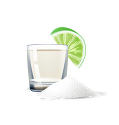 Realistic tequila shot lime salt mexico vector