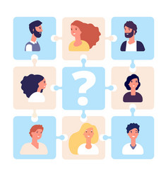 Recruiting business team puzzle vector