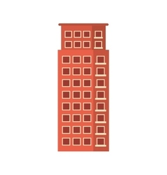 Red apartment building line sticker vector image