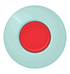 Red round button icon cartoon style vector