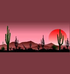 Red stony desert cacti sunset vector