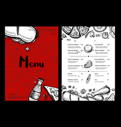 Restaurant fast food menu with prices vector
