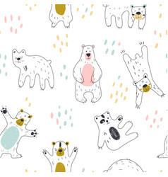 Seamless childish pattern with cute bear vector