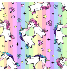 seamless pattern romantic couple of unicorns vector image