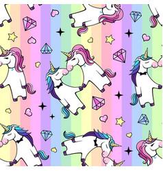seamless pattern romantic couple unicorns vector image