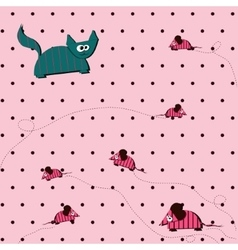 Seamless polka dot background with cat and mouse vector