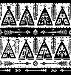 seamless with wigwams arrows and feathers vector image
