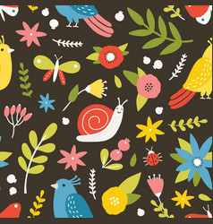 seasonal seamless pattern with blooming meadow vector image