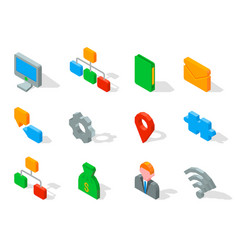 set business 3d icons vector image