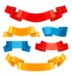set colored ribbons and banners vector image