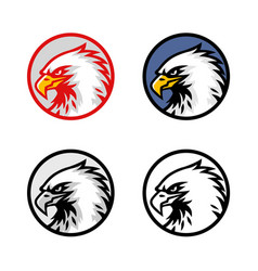 set eagle head logo design sign icon vector image