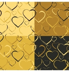 set golden hearts seamless patterns vector image