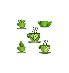 Set mug jar cup leaf logo designs inspiration vector