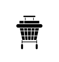 shopping stroller black icon sign on vector image