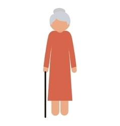 silhouette elderly woman with a cane without face vector image