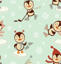Skating penguins pattern vector image vector image