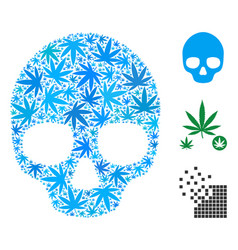 Skull mosaic of weed leaves vector